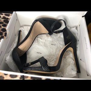 Aldo Women Caraa Black Synthetic Ankle Strap Heels